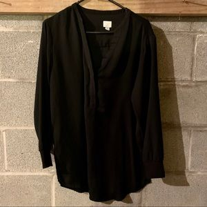 Black long sleeve, cuffed blouse